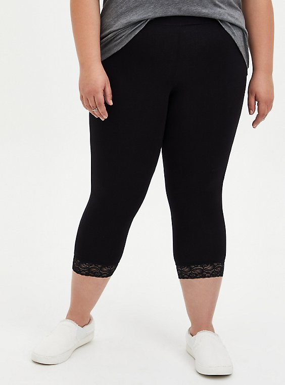 Plus Size Capri Premium Legging - Lace Hem Black, , hi-res