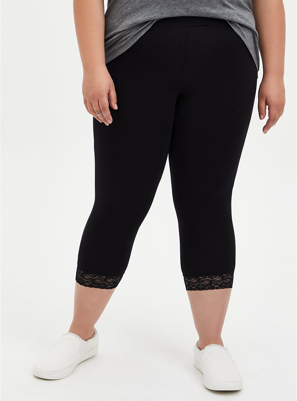 Plus Size Capri Premium Legging - Lace Hem Black, DEEP BLACK, hi-res