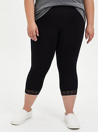 Plus Size Capri Premium Legging - Lace Hem Black, DEEP BLACK, hi-res