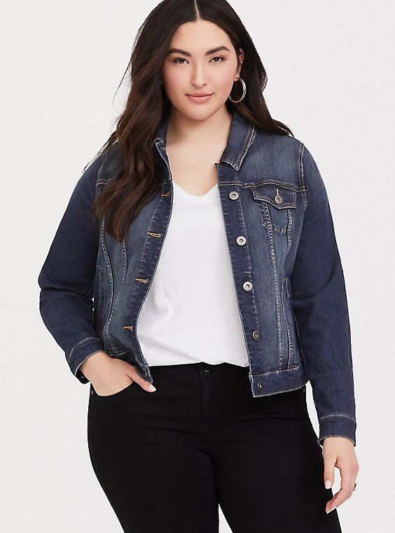 Plus Size Denim Jacket - Medium Wash, , hi-res