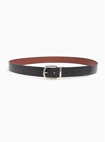 Reversible Faux Leather Buckle Belt, DEEP BLACK, alternate