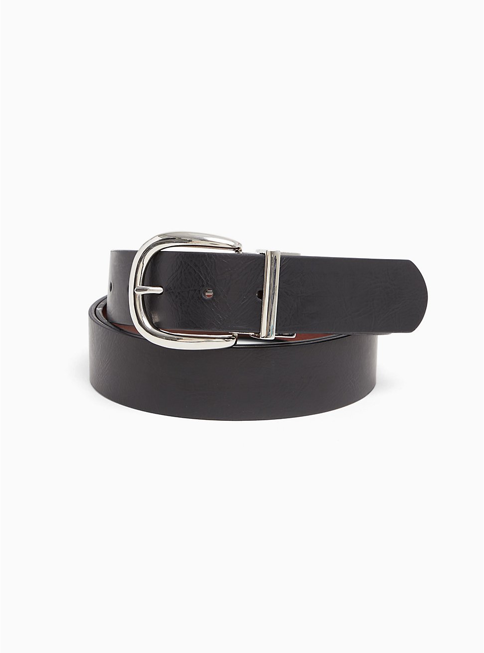 Reversible Faux Leather Buckle Belt, DEEP BLACK, hi-res