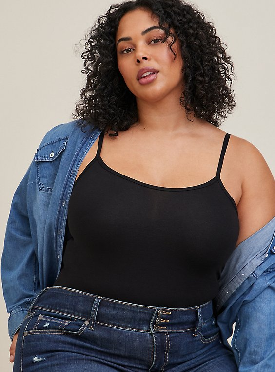 Plus Size Black Scoop Neck Foxy Cami, , hi-res