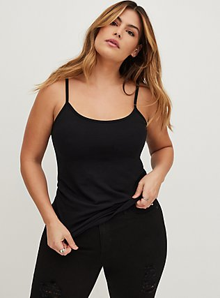 Plus Size Black Scoop Neck Foxy Cami, DEEP BLACK, hi-res