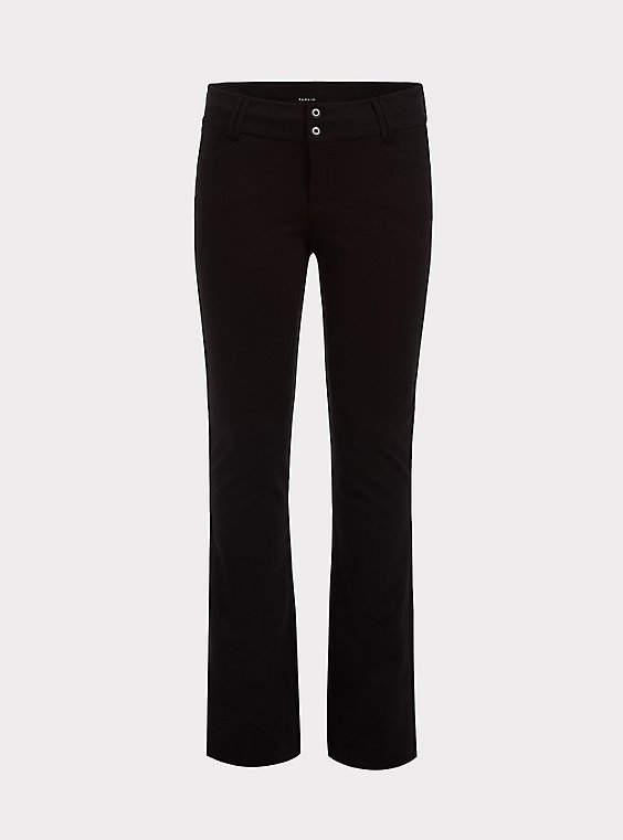 Studio Signature Premium Ponte Stretch Trouser - Black, , flat