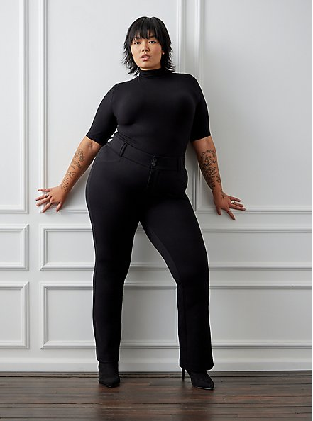 Studio Signature Stretch Black Premium Ponte Trouser, DEEP BLACK, hi-res