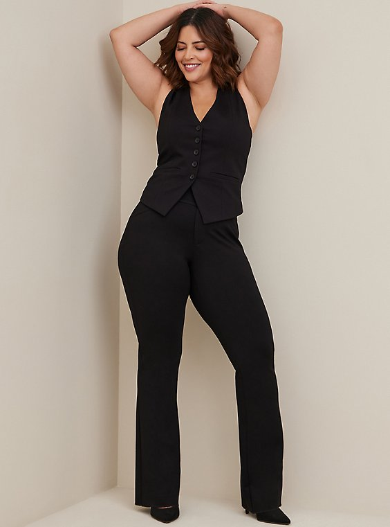 Plus Size Studio Signature Premium Ponte Stretch Trouser - Black, , hi-res
