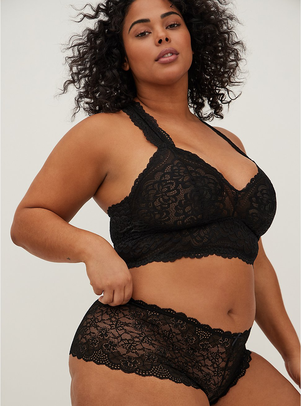 Black Lace Cheeky Short, RICH BLACK, hi-res