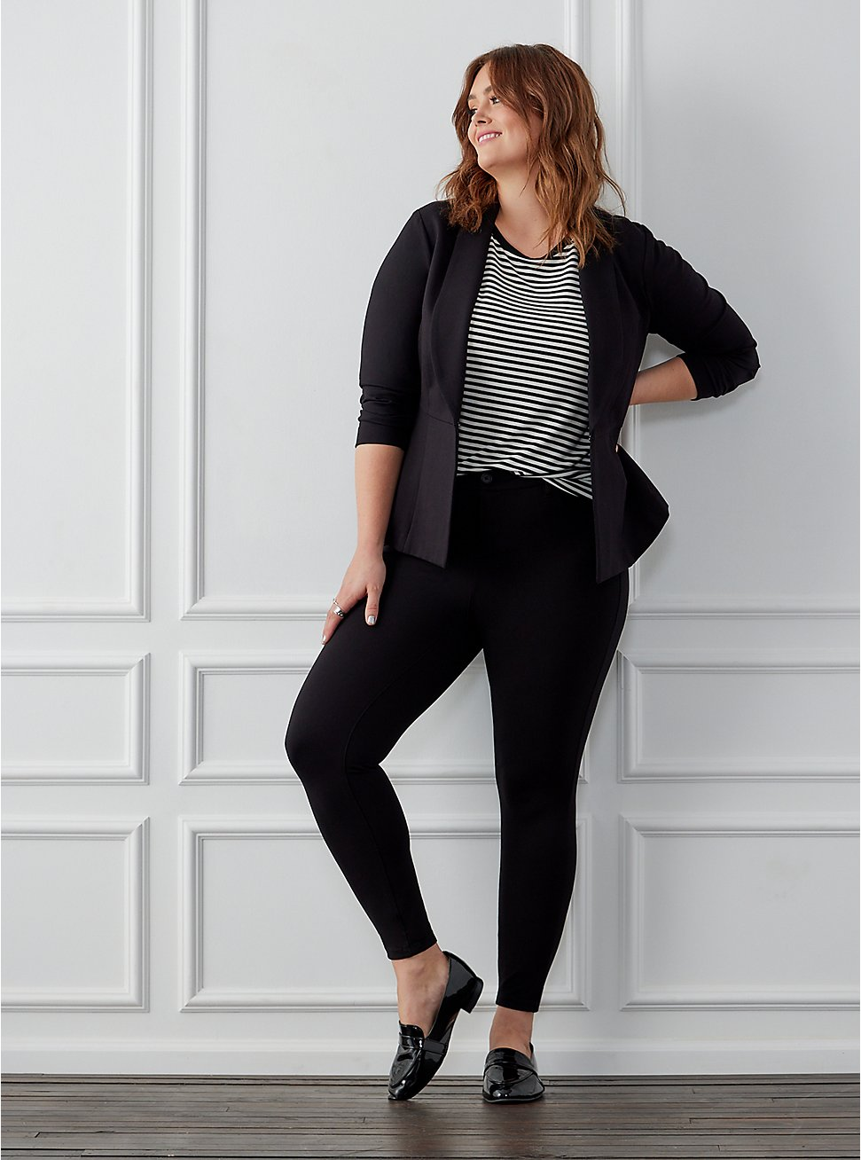 Studio Signature Stretch Black Premium Ponte Skinny Pant, DEEP BLACK, hi-res