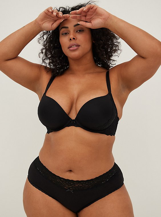 Plus Size Black Microfiber & Lace Push-Up Plunge Bra, , hi-res