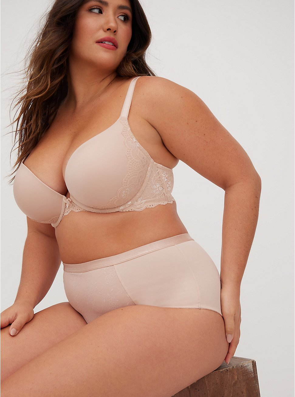 Beige Microfiber & Lace Push-Up Plunge Bra, ROSE DUST, hi-res