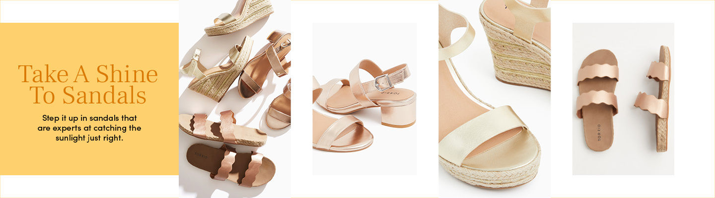 Take A Shine To Sandals - Step it up in sandals that are experts at catching the sunlight just right.