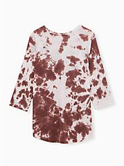 Plus Size Raise Hell Classic Fit Raglan Tee - Tie-Dye Brown, ROSE BROWN, alternate